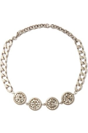 Alessandra Rich Logo-embossed Crystal Chain Necklace - Womens