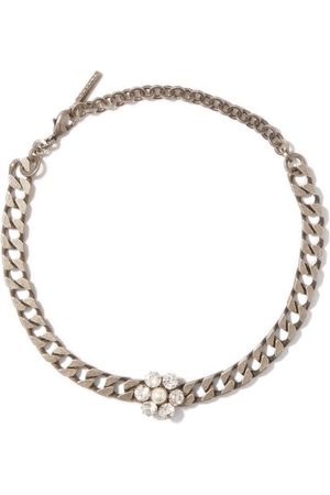 Alessandra Rich Daisy Crystal And Pearl-embellished Choker - Womens
