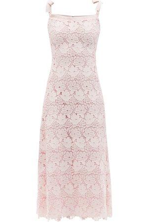 Giambattista Valli Tie-shoulder Macramé-lace Midi Dress - Womens - Light