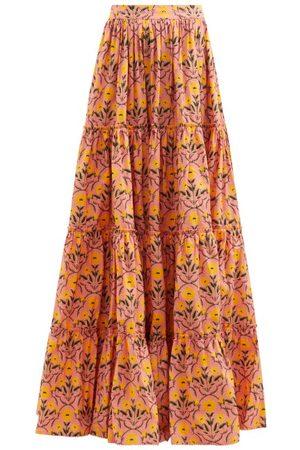 Agua by Agua Bendita Macadamia Floral-print Tiered Cotton Maxi Skirt - Womens - Multi