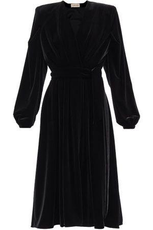 ALEXANDRE VAUTHIER Women Dresses - Padded-shoulder V-neck Velvet Wrap Dress - Womens