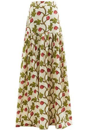 Agua By Agua Bendita Women Printed Skirts - Margarita Fig-print Linen Maxi Skirt - Womens - Print