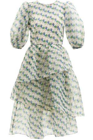 Shrimps Women Printed Dresses - Dax Climbing Grapes-print Organza Midi Dress - Womens - Multi