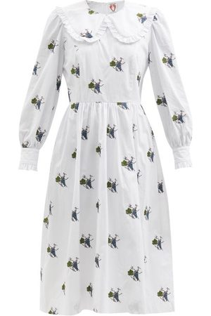 Shrimps Ivy Climbing Grapes-embroidered Cotton Midi Dress - Womens - Multi