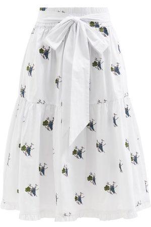 Shrimps Coco Climbing Grapes-embroidered Cotton Midi Skirt - Womens - Multi