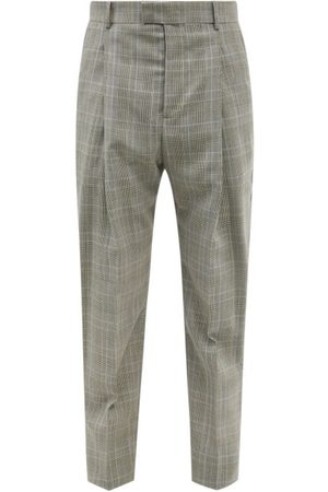 Alexander McQueen Prince Of Wales-check Pleated Wool Trousers - Mens - Grey Multi