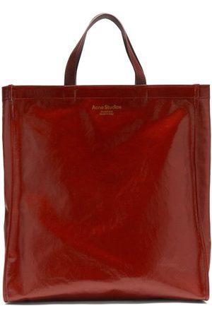 Acne Studios Women Tote Bags - Agele Medium Leather-trim Coated-canvas Tote Bag - Womens - Burgundy