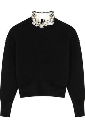 Alexander McQueen Women Sweaters - Ruffle-trimmed wool jumper
