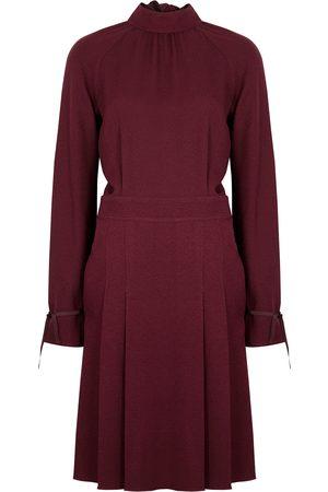 Victoria, Victoria Beckham Burgundy pleated crepe dress