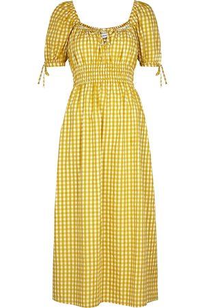 Faithfull The Brand Flora checked cotton midi dress