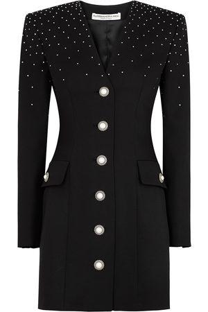 Alessandra Rich Embellished stretch-wool mini dress