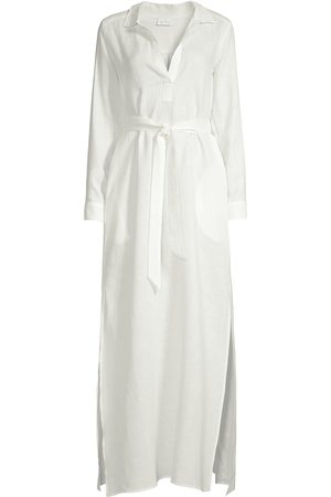 Pour Les Femmes Linen Maxi Shirtdress