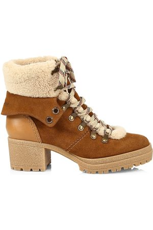 See by Chloé Eileen Shearling-Trimmed Suede Block-Heel Boots