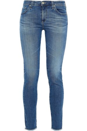 AG JEANS Woman Frayed Low-rise Skinny Jeans Mid Denim Size 23