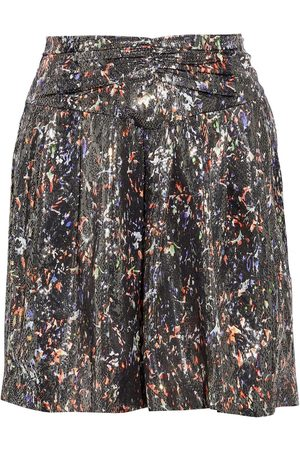IRO Woman Maziar Ruched Printed Metallic Silk-blend Mini Skirt Size 38