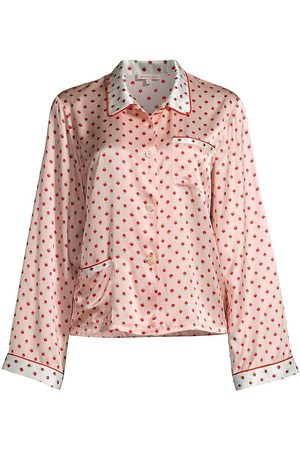 Morgan Lane Ruthie Strawberry Dot Pajama Silk-Stretch Top