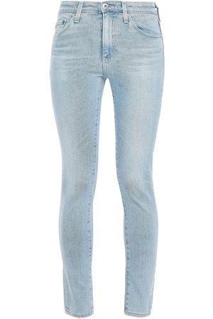 AG JEANS Woman Faded Mid-rise Skinny Jeans Light Denim Size 24