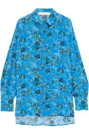 IRO Woman Haul Printed Crepe De Chine Shirt Azure Size 34
