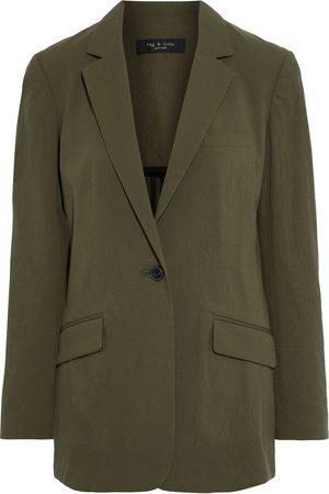 RAG&BONE Woman Ames Cotton-blend Seersucker Blazer Army Size 0