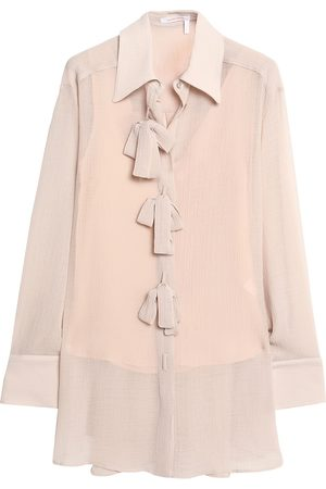 See by Chloé See By Chloé Woman Oversized Bow-embellished Crepon Shirt Blush Size 34