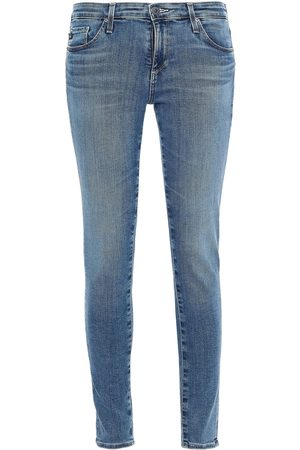 AG JEANS Woman Faded Low-rise Skinny Jeans Mid Denim Size 24