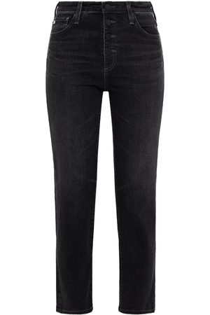 AG Jeans Woman Cropped High-rise Straight-leg Jeans Charcoal Size 23