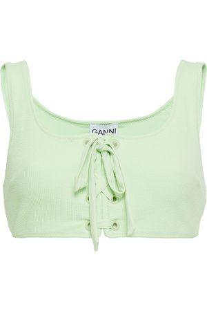 Ganni Women Bikinis - Woman Lace-up Stretch-seersucker Bikini Top Light Size 38