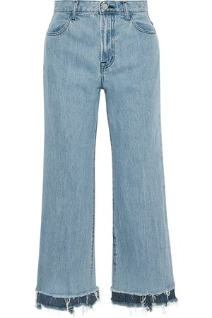 J BRAND Women High Waisted - Woman Joan Cropped Frayed High-rise Straight-leg Jeans Mid Denim Size 28