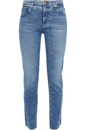 AG JEANS Woman Prima Ankle Cropped Frayed Mid-rise Slim-leg Jeans Mid Denim Size 23