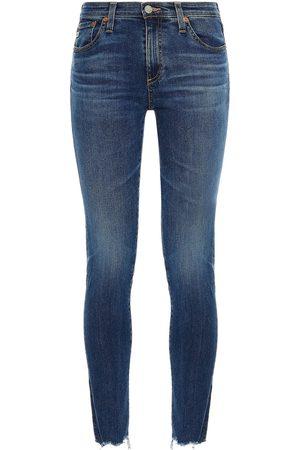 AG JEANS Woman Legging Ankle Frayed Mid-rise Skinny Jeans Dark Denim Size 24
