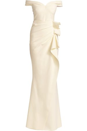 CHIARA BONI Radoslava Off-The-Shoulder Wrap Gown