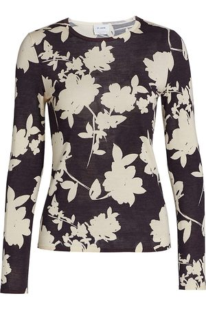 ST. JOHN Floral-Print Long-Sleeve Wool & Silk Top