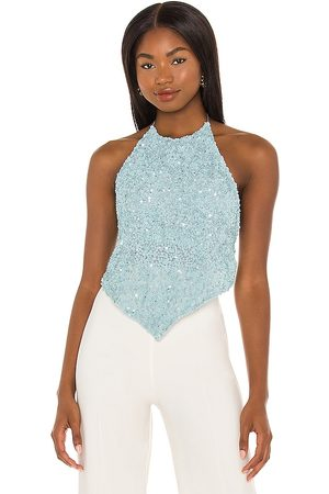 ALICE+OLIVIA Frenchie Embellished Halter Top in Baby Blue.