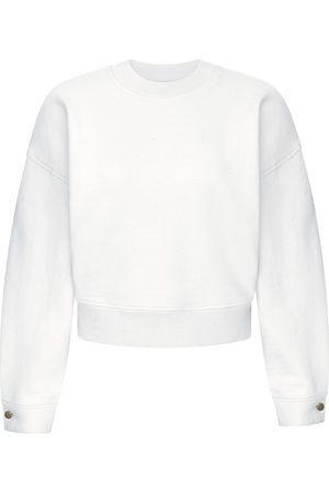 DL1961 DL1961 Premium Denim Cropped Button-Cuff Sweatshirt