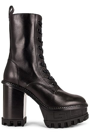 VERSACE Leather Lace Up Ankle Boots in