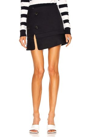 MONSE Upside Down Trench Collar Skirt in Navy