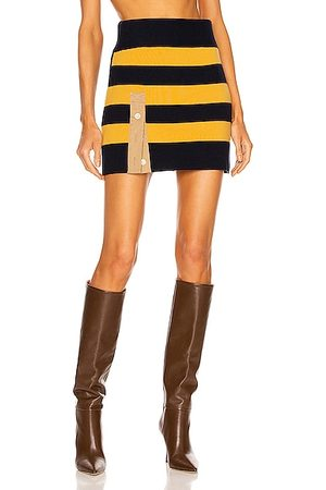 MONSE Striped Rugby Knit Mini Skirt in Yellow