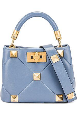 VALENTINO GARAVANI Mini Roman Stud Top Handle Bag in Blue