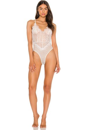Mina Lisa Mixed Lace Bodysuit in .