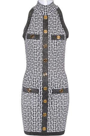 Balmain Monogram jacquard knit minidress
