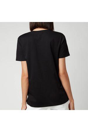 Balmain Women's Short Sleeve 3 Button Metallic Logo T-Shirt