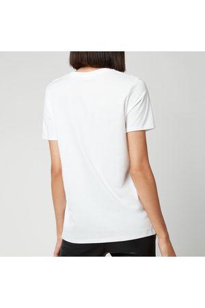 Balmain Women Short Sleeve - Women's Short Sleeve 3 Button Metallic Logo T-Shirt