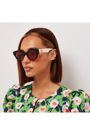 Gucci Women Sunglasses - Women's Acetate Cat Eye Sunglasses with Contrast Arms