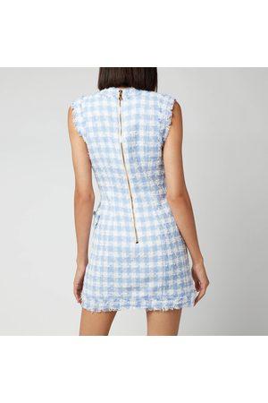 Balmain Women's Sleevless 8 Button Gingham Tweed Dress