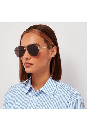 Balenciaga Women's Logo Lense Metal Aviator Sunglasses