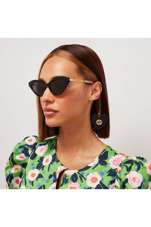 Gucci Women's Cat Eye Acetate Frames with Charm Sunglasses