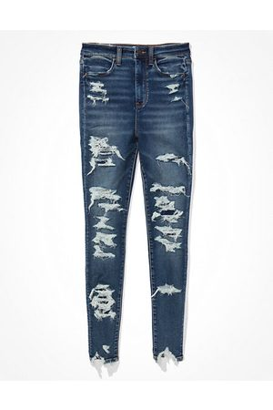 American Eagle Outfitters Women Jeggings - Next Level Soft Knit Ripped Highest Waist Jegging Women's 2 Long