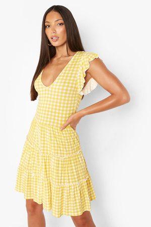 Boohoo Womens Tall Gingham Tie Strap Ruffle Mini Dress - - 2