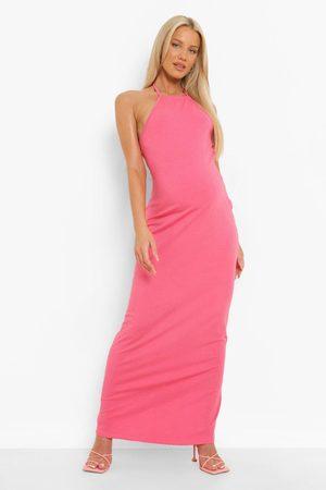 Boohoo Womens Maternity Halter Maxi Dress - - 4