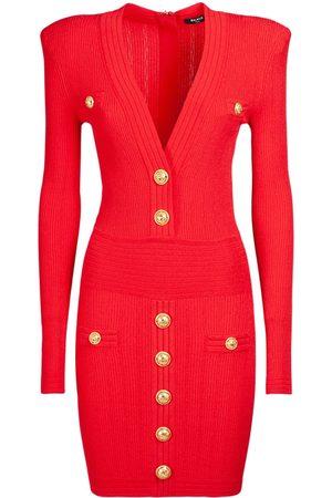 Balmain Knit Viscose V-neck Buttoned Mini Dress